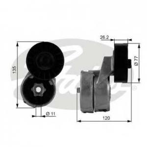 GATES T38443 Натяжной ролик, поликлиновой  ремень