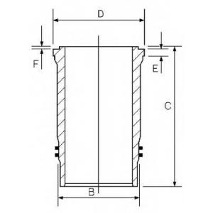 GOETZE 14-456330-00 Гильза цилиндра MB 130.0 V6/8/10 OM441-444/OM462/OM463 (пр-во Goetze)
