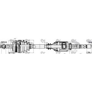 GSP 299151 Привод правый Master/Movano G9U ->08/06 (39z внутр. x28) 1158mm