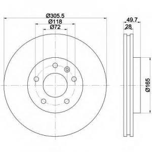 HELLA 8DD355108-951 Brake disc