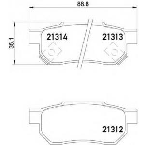 HELLA PAGID 8DB 355 005-731 Комплект тормозных колодок, дисковый тормоз Акура