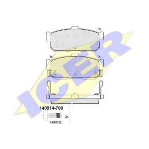 Комплект тормозных колодок, дисковый тормоз 140914700 icer - NISSAN SUNNY III Hatchback (N14) Наклонная задняя часть 2.0 GTI 16V