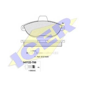 Комплект тормозных колодок, дисковый тормоз 141122700 icer - CITRO?N JUMPY (U6U) вэн 1.9 TD
