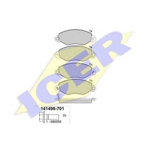 Комплект тормозных колодок, дисковый тормоз 141498 icer - FORD TRANSIT автобус (FD_ _, FB_ _, FS_ _, FZ_ _, FC_ _) автобус 2.4 DI [RWD] (F_B_, F_C_, F_A_)