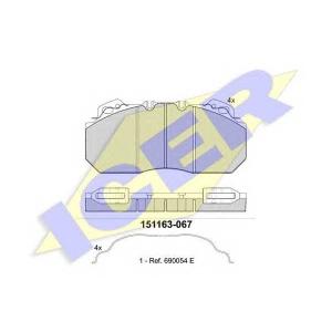 Комплект тормозных колодок, дисковый тормоз 151163067 icer - RENAULT TRUCKS Premium  Route 385.26,400.26