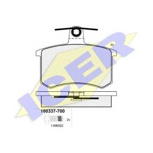 Комплект тормозных колодок, дисковый тормоз 180337700 icer - ALFA ROMEO 164 (164) седан 2.0 T.S. (164.A2C, 164.A2L)
