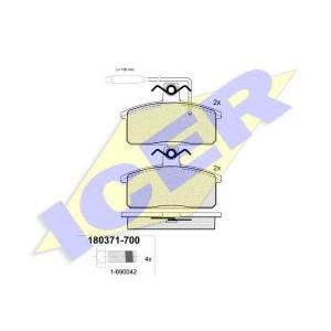 Комплект тормозных колодок, дисковый тормоз 180371700 icer - SEAT IBIZA I (021A) Наклонная задняя часть 0.9