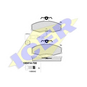 Комплект тормозных колодок, дисковый тормоз 180414700 icer - FORD SIERRA Наклонная задняя часть (GBC) Наклонная задняя часть 1.6
