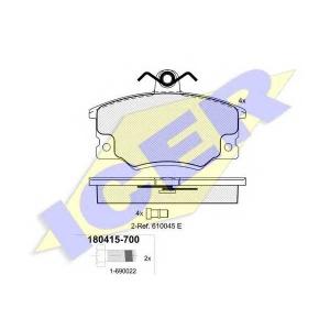 Комплект тормозных колодок, дисковый тормоз 180415700 icer - ALFA ROMEO 155 (167) седан 1.7 T.S. (167.A4D, 167.A4H)
