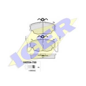 Комплект тормозных колодок, дисковый тормоз 180554700 icer - RENAULT 5 (122_) Наклонная задняя часть 1.4 (1229, 1399)