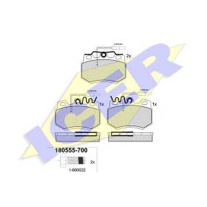 Комплект тормозных колодок, дисковый тормоз 180555700 icer - CITRO?N VISA Наклонная задняя часть 16 GTI
