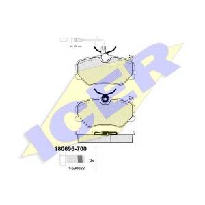 ICER 180696700 Тормозные колодки дисковые