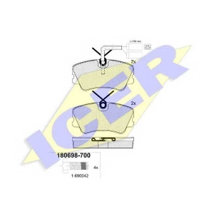 Комплект тормозных колодок, дисковый тормоз 180698700 icer - ALFA ROMEO ALFASUD Sprint (902.A) купе 1.7 i.e.