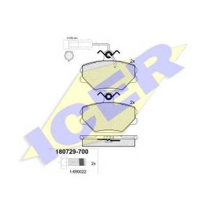 Комплект тормозных колодок, дисковый тормоз 180729700 icer - FIAT TIPO (160) Наклонная задняя часть 1.4 (160.AC)