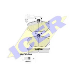 Комплект тормозных колодок, дисковый тормоз 180742700 icer - ALFA ROMEO 164 (164) седан 2.0 T.S. (164.H3)