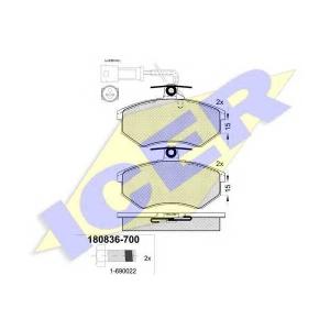 Комплект тормозных колодок, дисковый тормоз 180836700 icer - AUDI 80 (89, 89Q, 8A, B3) седан 1.6
