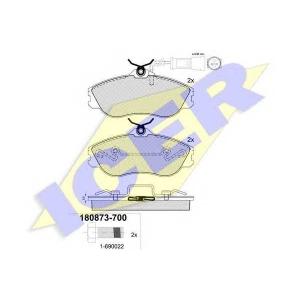 Комплект тормозных колодок, дисковый тормоз 180873700 icer - AUDI 100 (44, 44Q, C3) седан 2.2