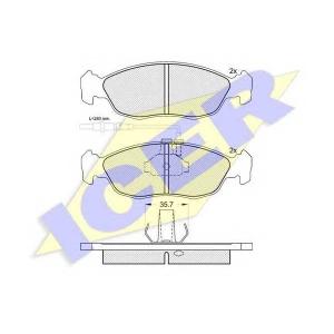 Комплект тормозных колодок, дисковый тормоз 180932 icer - PEUGEOT 306 Наклонная задняя часть (7A, 7C, N3, N5) Наклонная задняя часть 1.9 D