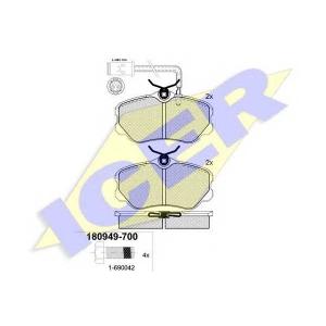 Комплект тормозных колодок, дисковый тормоз 180949700 icer - ALFA ROMEO 164 (164) седан 2.0 T.S. (164.A2C, 164.A2L)
