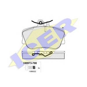 Комплект тормозных колодок, дисковый тормоз 180973700 icer - MERCEDES-BENZ C-CLASS (W202) седан C 200 D (202.120)