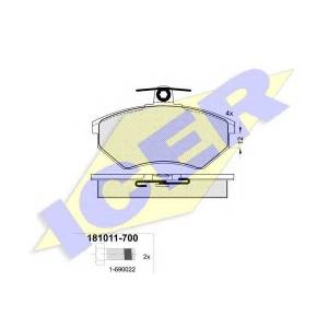 Комплект тормозных колодок, дисковый тормоз 181011700 icer - AUDI COUPE (89, 8B) купе 2.0 16 V