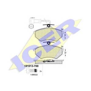 Комплект тормозных колодок, дисковый тормоз 181013700 icer - VW CORRADO (53I) купе 2.0 i 16V