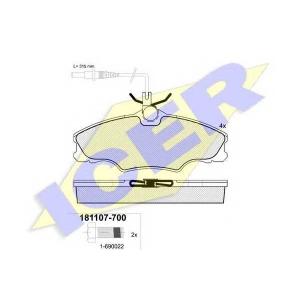 Комплект тормозных колодок, дисковый тормоз 181107700 icer - PEUGEOT 406 (8B) седан 1.6