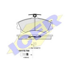 ICER 181118700 Тормозные колодки дисковые
