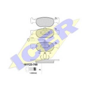 Комплект тормозных колодок, дисковый тормоз 181123700 icer - LANCIA DELTA II (836) Наклонная задняя часть 1.9 TD (836AM, 836AN)