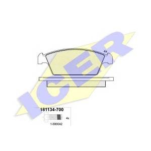 ICER 181134 Комплект тормозных колодок, дисковый тормоз Дэу Тико