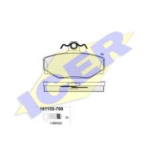 Комплект тормозных колодок, дисковый тормоз 181155700 icer - VOLVO 740 (744) седан 2.3