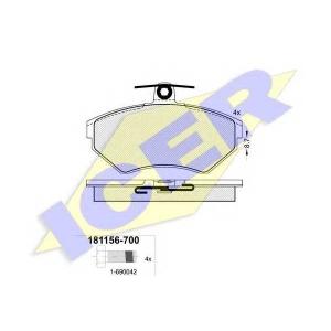 ICER 181156700 Тормозные колодки дисковые