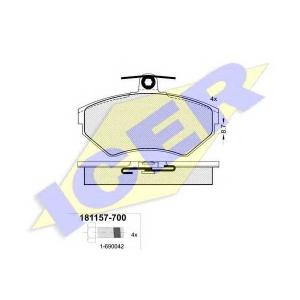 Комплект тормозных колодок, дисковый тормоз 181157700 icer - AUDI A4 (8D2, B5) седан 1.6