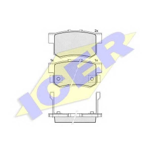 ICER 181187 Комплект тормозных колодок, дисковый тормоз Акура Легенд