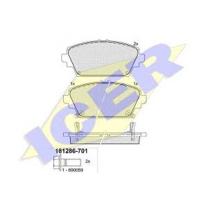 Комплект тормозных колодок, дисковый тормоз 181286701 icer - HONDA ACCORD VII (CG, CK) седан 1.8 i
