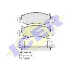 Комплект тормозных колодок, дисковый тормоз 181368701 icer - OPEL AGILA (A) (H00) Наклонная задняя часть 1.0 12V