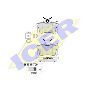 Комплект тормозных колодок, дисковый тормоз 181387700 icer - VW SHARAN (7M8, 7M9, 7M6) вэн 1.9 TDI