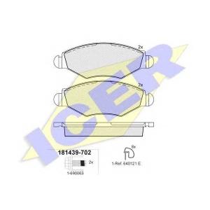 Комплект тормозных колодок, дисковый тормоз 181439702 icer - PEUGEOT 206 Наклонная задняя часть (2A/C) Наклонная задняя часть 1.1 i