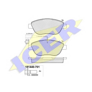 Комплект тормозных колодок, дисковый тормоз 181440701 icer - FIAT DOBLO Cargo (223) фургон 1.3 JTD 16V Multijet
