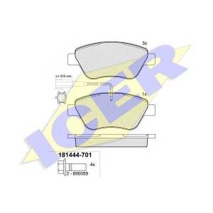 ICER 181444701 Тормозные колодки дисковые