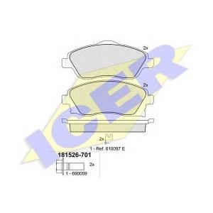 Комплект тормозных колодок, дисковый тормоз 181526701 icer - VAUXHALL CORSA Mk II (C) (W5L, F08) Наклонная задняя часть 1.6
