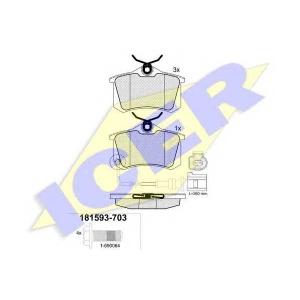 Комплект тормозных колодок, дисковый тормоз 181593703 icer - VW LUPO (6X1, 6E1) Наклонная задняя часть 1.4 16V