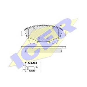 Комплект тормозных колодок, дисковый тормоз 181649701 icer - RENAULT MEGANE II универсал (KM0/1_) универсал 1.6 Hi-Flex