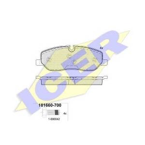 Комплект тормозных колодок, дисковый тормоз 181660700 icer - LAND ROVER DISCOVERY III (TAA) вездеход закрытый 4.0 V6 4x4