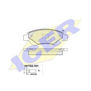 Комплект тормозных колодок, дисковый тормоз 181702701 icer - CITRO?N C1 (PM_, PN_) Наклонная задняя часть 1.0