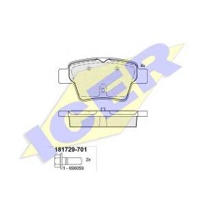 Комплект тормозных колодок, дисковый тормоз 181729701 icer - CITRO?N C4 (LC_) Наклонная задняя часть 1.6 Flex