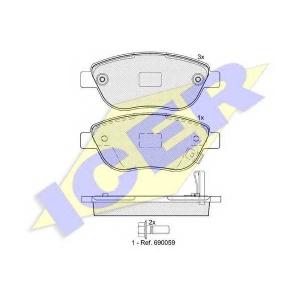 ICER 181809 Комплект тормозных колодок, дисковый тормоз