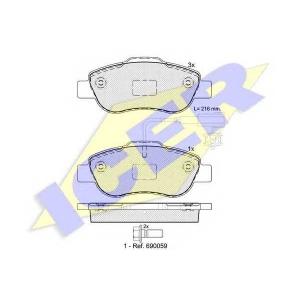 Комплект тормозных колодок, дисковый тормоз 181843 icer - FIAT PANDA (169) Наклонная задняя часть 1.3 D Multijet 4x4