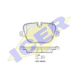 Комплект тормозных колодок, дисковый тормоз 181952 icer - LAND ROVER RANGE ROVER SPORT (LS) вездеход закрытый 5.0 V8