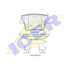 ICER 182069 Комплект тормозных колодок, дисковый тормоз Додж Чарджер